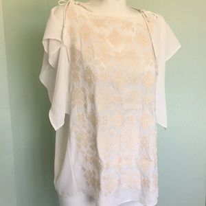 Cream Tie Shoulder Embroidered Mossimo Blouse